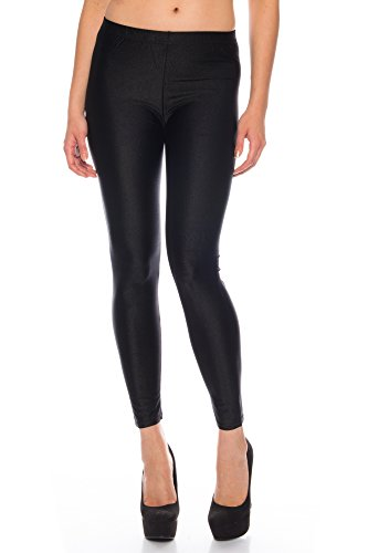 Kendindza Damen Glanz Wetlook Elastisch Stretch Legging Leggings High Waist (M, Schwarz)