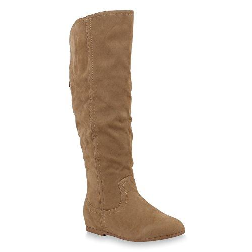 Damen Keilstiefel Leicht Gefütterte Stiefel Wedges Schuhe Zipper 153644 Khaki Bernice 38 Flandell