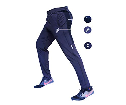 Men's Polyester Lower Slim and Fit Track Pants (Navy Blue, Large)