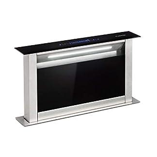 Klarstein Royal Flush Eco Extractor de humos de mesa – Replegable, 60 cm, Absorción de 458 m³/h, Absorción y ventilación, Emisión de 60 db, Control táctil, Iluminación de la cocina LED, Negro