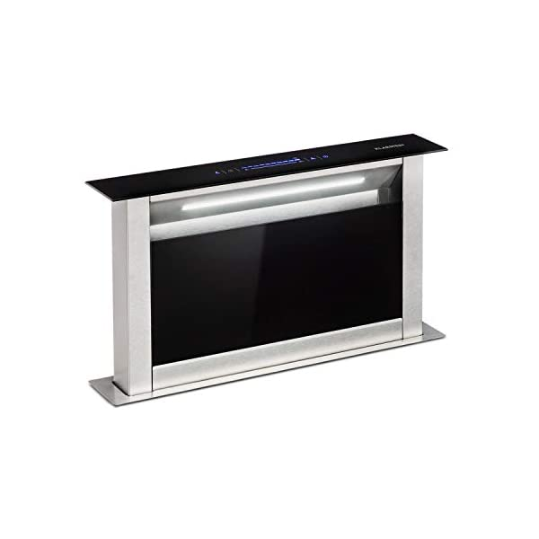 Klarstein Royal Flush Eco Table Extractor Hood • Retractable • 60 cm • Exhaust Air Flow: 458 m³ / h • Exhaust/Recirculation • Quiet Operation: 60 db • Touch Control • LED Hob Lighting • Black 31hmPJOjk1L