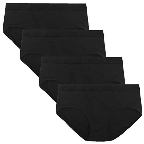 wirarpa Damen Unterwäsche Slips Unterhosen Baumwolle 4er Pack Frauen Hipster Panty Schwarz L 44 46