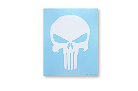 The PUNISHER Skull crâne White blanc Rub-On Sticker autocollant Marvel Comics Officially Licensed Movie & TV Artwork Création, 5.75