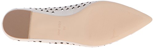Nine West Ashling Leather Ballet Flat Off White Leather