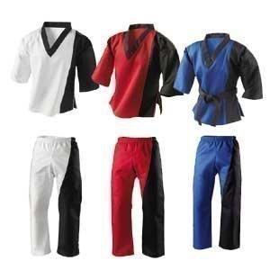 Martial Arts Free Style- und Vorführ-Anzug mit V-Ausschnitt, Blau / Schwarz (Martial-arts-uniform V-ausschnitt)