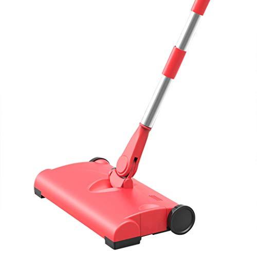 DingLong Teppichkehrer Handkehrmaschine,Smart Hand Push Wireless Charging Haushalt elektrische Kehrmaschine Mopp Reinigungsmaschine für Teppich und Bodenreinigung (Rot) - Push-broom