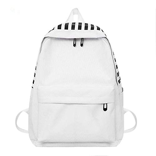 OneMoreT Schulrucksäcke für Teenager, Mädchen, einfach, Segeltuch, Frauen Schulter-Rucksack, weiblich, Casual Reisetaschen weiß (Segeltuch-frauen-rucksack)