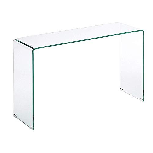Tavolino tavolo da salotto in vetro temperato, tavolo luxury z-03, design curvo e moderno, 126 x 70 x 40 cm, vetro temperato trasparente