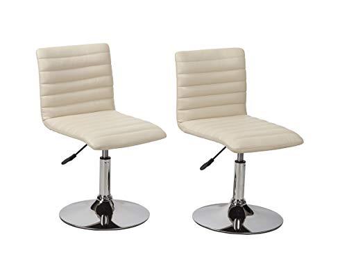 Duhome Elegant Lifestyle Esszimmerstühle 2er Set # Stuhl # Kunstleder Creme # Küchenstuhl Drehstuhl Typ 9-574V höhenverstellbar, Besucherstuhl, Designstuhl