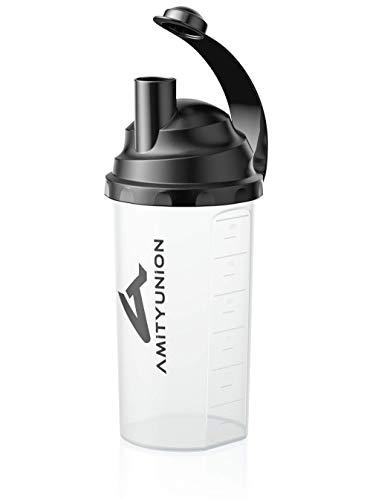 Eiweiß Shaker 800ml mit Sieb und Skala - BPA frei, Auslaufsicher für cremige Whey Proteinpulver Shakes und Gym Isolate und BCAA Protein Pulver, Fitness Wasserflasche für Konzentrate in Classic Schwarz