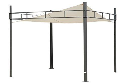 Outflexx Pavillon/Sonnensegel aus grauem Stahl, cremeweiß, 300 x 300 x 20 cm