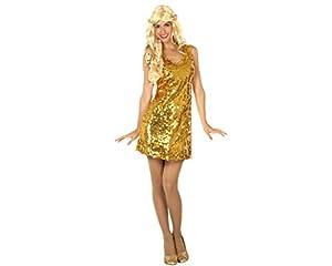 Atosa-30567 Disfraz vestido mujer disco, color dorado, XL (30567)