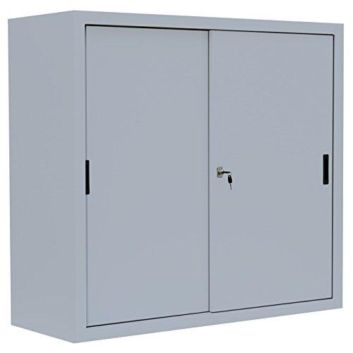 Schiebetürenschrank Schiebetüren Büro Lüllmann Aktenschrank Sideboard aus Stahl grau 550140 kompl. montiert und verschweißt (Sideboards Schrank)