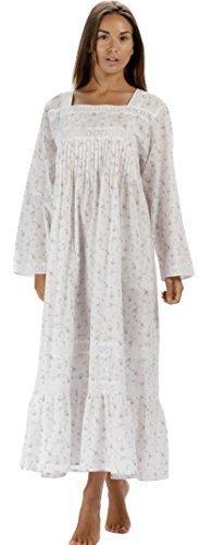 The 1 for U 100% Baumwolle Viktorianisches Stil Nachthemd mit Taschen - violett- XS - XXXL - lila rose, XXX-Large (Klassische Joch)