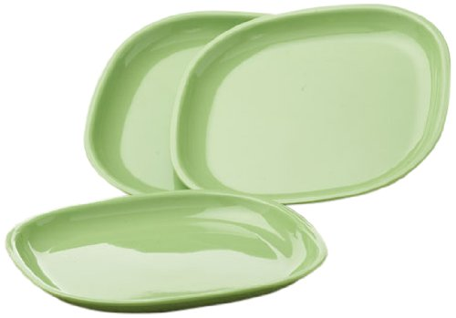 Signoraware Square Half Plate Set, Set of 3, Parrot Green