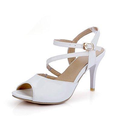 LvYuan Damen-Sandalen-Hochzeit Kleid Party & Festivität-Lackleder-Stöckelabsatz-D'Orsay und Zweiteiler Club-Schuhe-Schwarz Rot Weiß Black