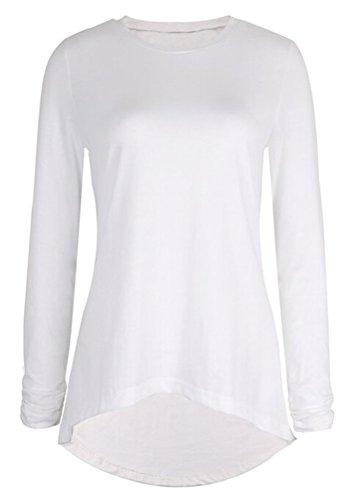 SMITHROAD Damen Shirt Top Langarm Asymmetrisch mit Glitzerndem Dekor Regular Fit Weiß/ Schwarz /Dunkelrose Weiß