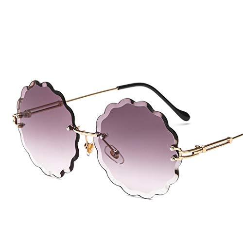 DAIYSNAFDN Randlose Gradient Sonnenbrille Frauen Mit Blumen Runde Legierung Rahmen Master Design Sonnenbrille Gray