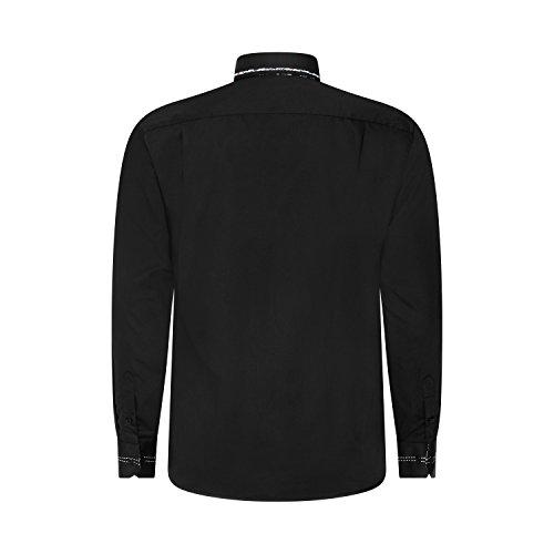 Robelli Herren Detail Plain Kleid Hemden/Hemd & Krawatte Kollektionen - Qualitäts Baumwolle oder Satin Style No. 6 - Black