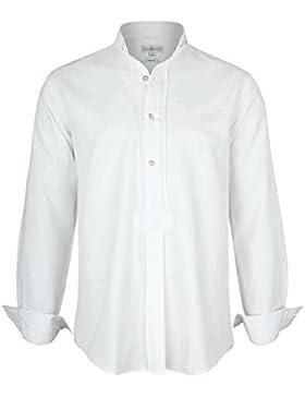 Almsach Herren Stehkragen Schlupfhemd Weiß, Weiß,