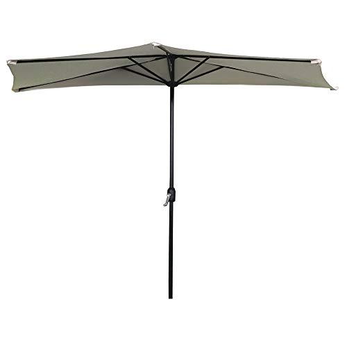 AUFUN Halbrund-Sonnenschirm mit kurbel 300cm UV Schutz 40+ - Beige Alu Balkon Terrassenschirm Marktschirm Gartenschirm (Beige)