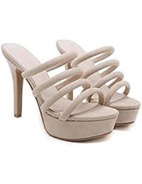 e6c0c3d0 Onfly 12.5 cm Stiletto Cool Zapatillas Mujeres Bomba punta abierta Hueco  Suede Zapatos de vestir OL