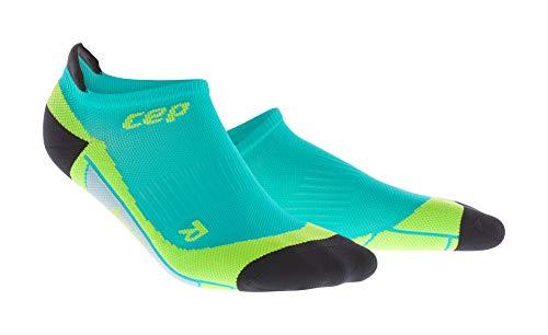 Feetures Low Cut Sock (CEP - No Show Socks für Herren | Atmungsaktiv für Sport und Freizeit blau/gelbgrün | Größe V)