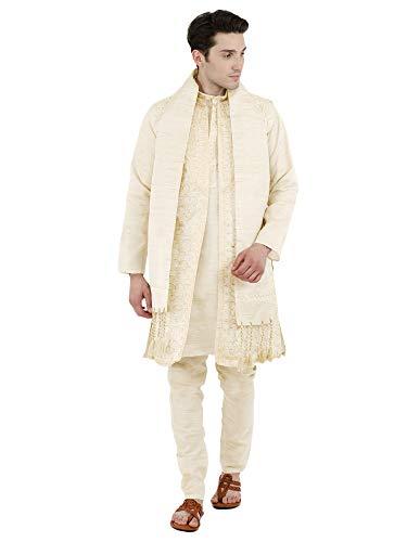SKAVIJ Mens Sherwani Kurta Pajama Jacket and Stole Set Party Dress [Ivory, Large]