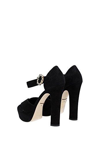 CR0039A127580999 Dolce&Gabbana Sandale Femme Chamois Noir Noir