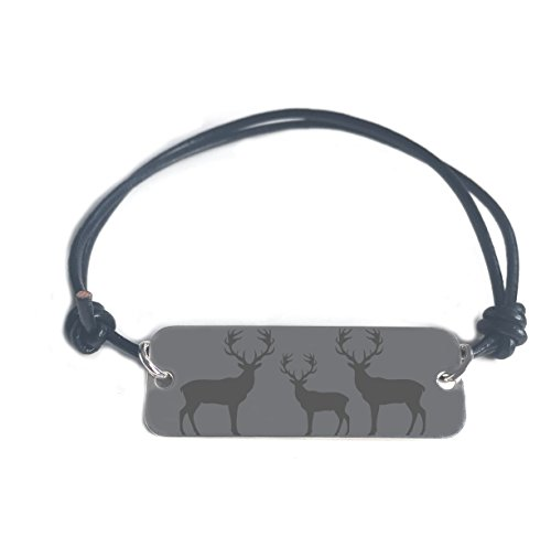 LOVE and POWER bracelet-deer symbol-con pendente in argento sterling con cordino in pelle