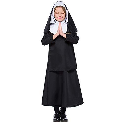 FDHNDER Child Cosplay Niños Disfraz/para niñas en Varias Tallas/Traje Fiesta/Fiesta Cumpleaños Disfraz de Monja Disfraz Escolar, S (Altura 100-115)