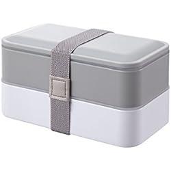 PuTwo Lunch Box de 2 Compartiments avec Couverts Bento Box sans BPA Boite Déjeuner Convient au Micro-ondes Lave-vaisselle Boite Repas Idéale pour Repas au Bureau ou à l'École - Gris