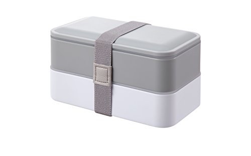 PuTwo Bento Box, Lunch Box, Porta Pranzo Ermetico Lunch, con Set di Posate, Grigio, 1200 ml