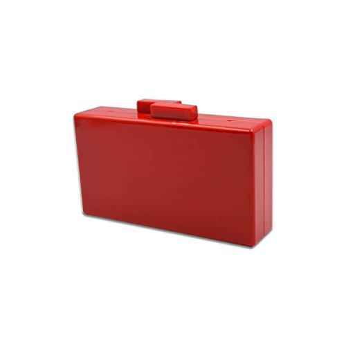 GSHGA Womens Beutel Rechteck Gelee Normallack Dinner Tasche Schulter Messenger Handtasche,Black Red