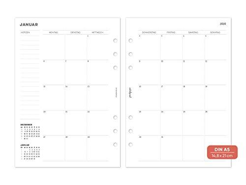 Pen & pages® 2020 - agenda mensile divisibile, formato din a5, 6 fori, rimovibile individualmente, calendario a5, 1 mese su 2 pagine, pagine per appunti, 14,8 x 21 cm