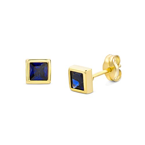 Miore Ohrringe Damen Gelbgold 9 Karat / 375 Gold Ohrstecker Solitär Saphir (Herren Blau Saphir Anhänger)