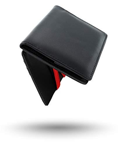Geldbeutel Herren | Magic Wallet mit Münzfach | RFID/NFC-Blocker | Schwarzes Leder mit roten Bändern -