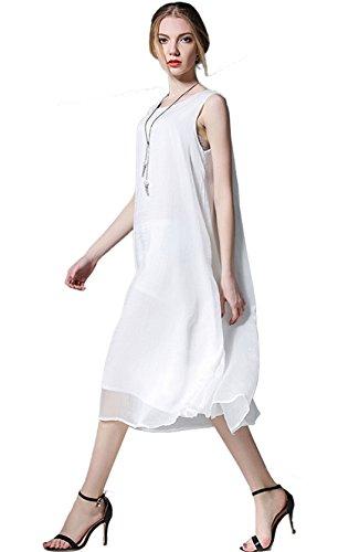 Tailloday Damen Sommer Chiffon Kleid Hochwertiges Sleeveless Rundhals Reines Farbenkleid Weiß