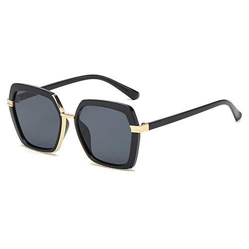 fuqiuwei Sonnenbrillen Retro Square Polygon Round Face Sonnenbrille Frauen Uv-Schutz Schwarzes Gesicht Kleine Sonnenbrille