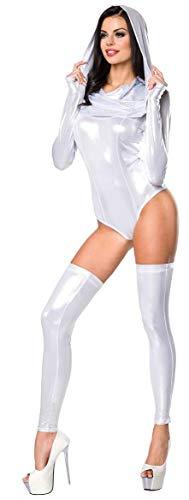 Hochwertiges sexy Bodyset im Metallic Look * Gr. XS-XL * Body und Stulpen Wetlook Gogo Party Damen Clubwear (18206 900011 Silber S)