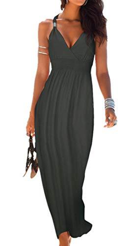 Uniquestyle Maxikleid Damen Sommerkleid Strandkleider Lange V-Ausschnitt Trägerkleid Grau L