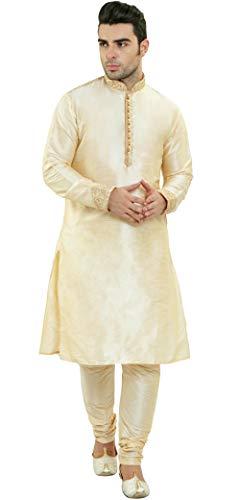 SKAVIJ Indische Kurta Pyjama Männer Langarm Haken & Auge Hemd Pyjama Set ethnische tragen Hochzeit Outfit-m