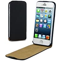 Rydges® Echt Ledertasche Flip Case für Apple iPhone 5 / 5S in der FLIPCASE EDITION Schwarz