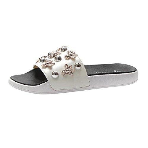 (SANFASHION Große Förderung Frauen Nachahmung Dragonfly Open Toe Schuhe Böhmen Anti Skidding Flache Hausschuhe)