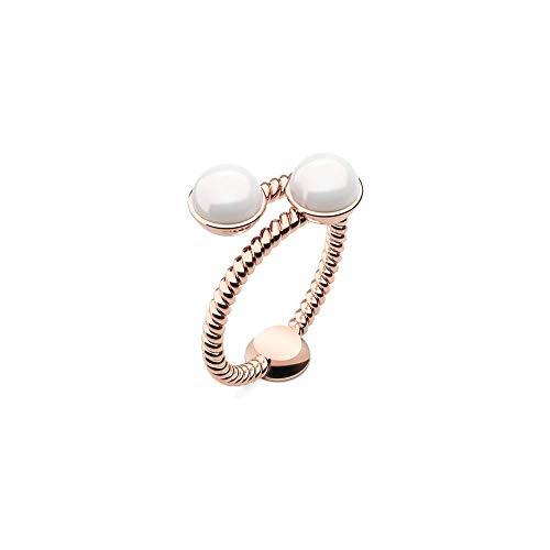 PAUL HEWITT Ring Damen Rope Pearl - Damenring vergoldet, Damen Ring Rosegold mit Perle