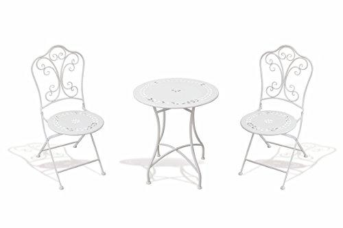 Galileo casa provence set tavolo e sedie metallo bianco 108 x 63