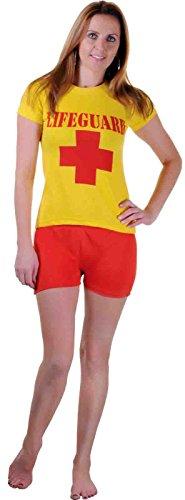 Women Lifeguard T-Shirt and Short Set Beach Bay Life Saver Costume (Women: ()
