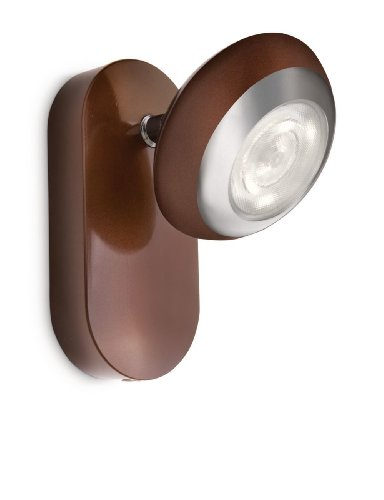 Philips myLiving Sepia - Foco de pared, LED, 1 luz, IP20, luz blanca cálida, 15000 h, color marrón