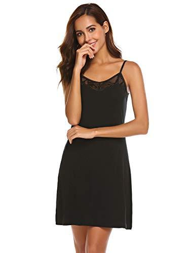Meaneor_Fashion_Origin Damen Nachthemd Kurz Spaghettiträger Negligee Spitze Nachthemd V-Ausschnitt Nachtkleid Sexy Nachtwäsche Sleepwear (S(EU 34-36), Schwarz)