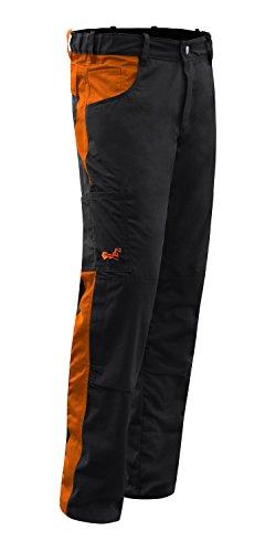 Arbeitshose Männer Berlin Pro Bundhose 280 GR. Reißverschluss YKK + Metallknopf YKK - Made in EU - Kermen - Schwarz-Orange 54